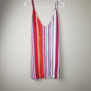 Forever 21 Multi Color Slip Striped Dress Size Med